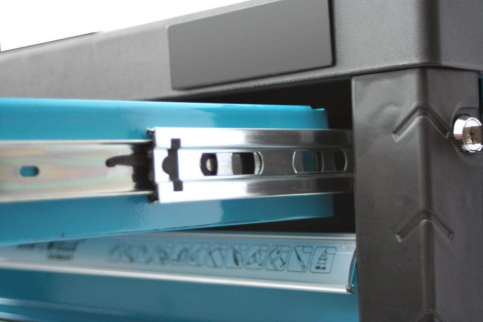 werkstattwagen gef llt werkzeugwagen werkzeugschrank werkzeugkasten box blau ebay. Black Bedroom Furniture Sets. Home Design Ideas